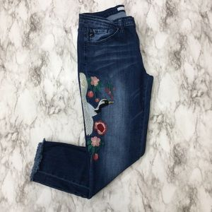 kanCan Bird Embroidered Skinny Jeans
